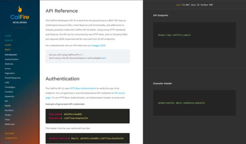 CallFire API Site