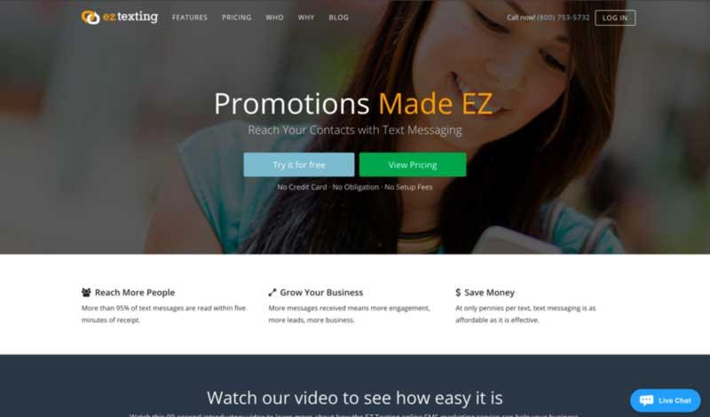 EZ Texting's Homepage